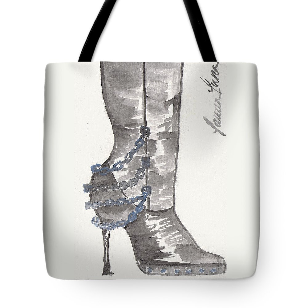 Boot Tote Bag featuring the painting Wrath Boot by Lauren Luna