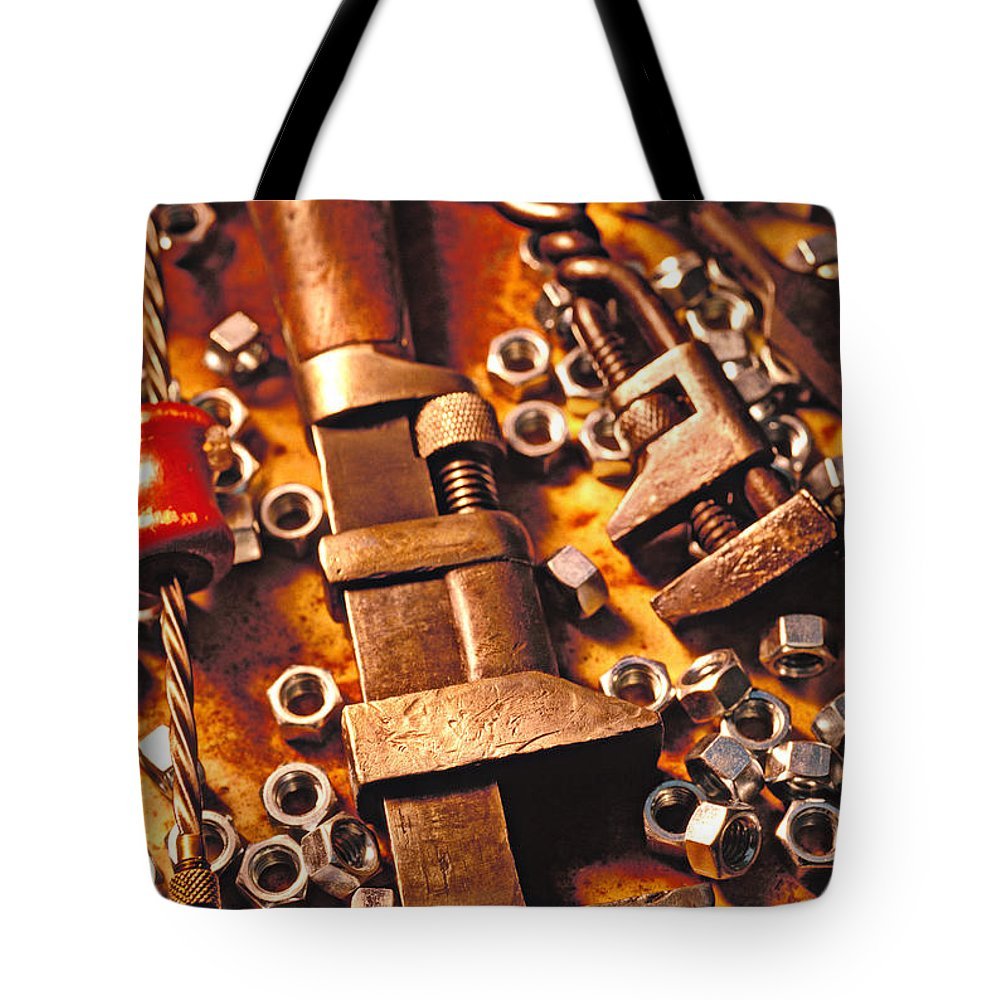 Tool Tote Bag featuring the photograph Wrench Tools And Nuts by Garry Gay