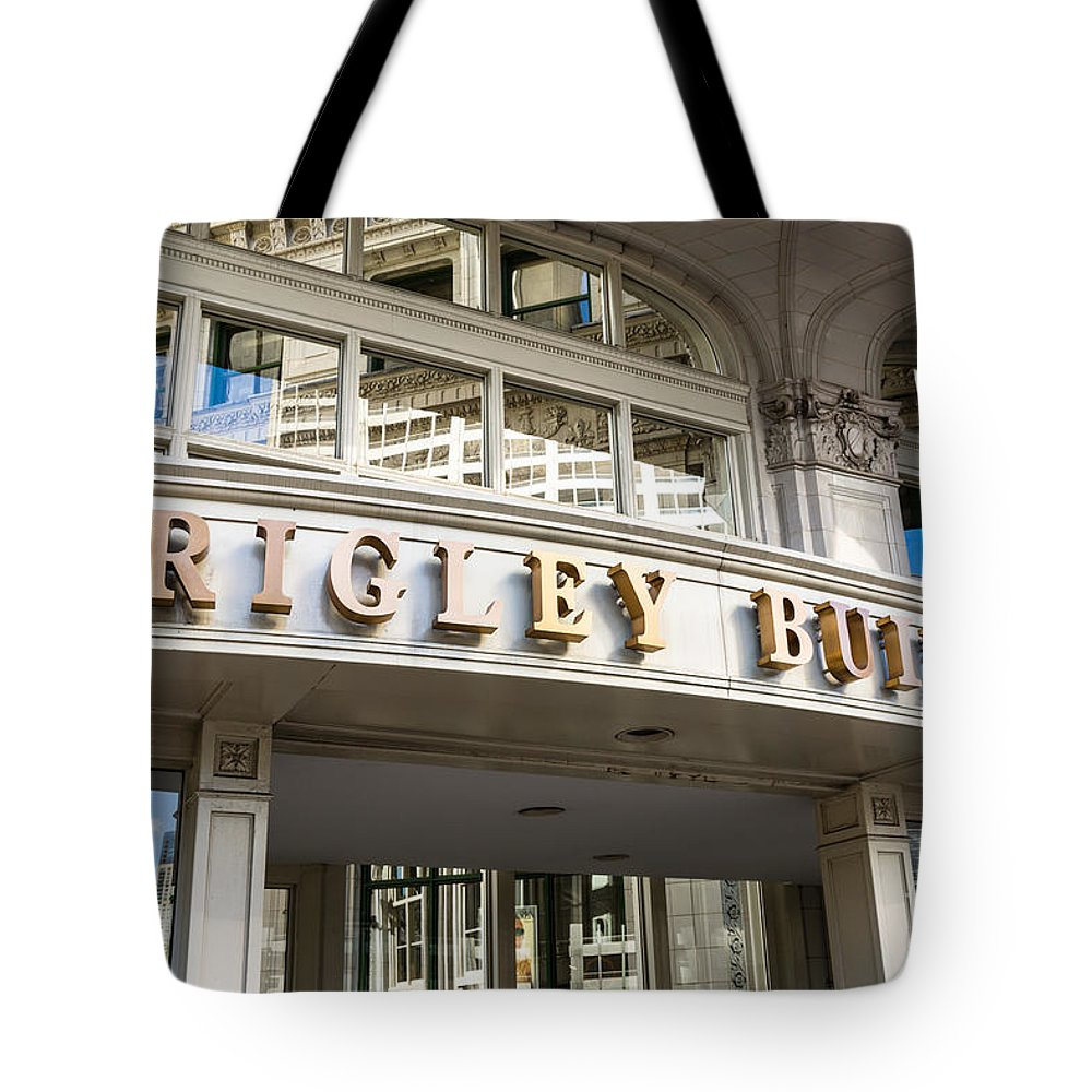 America Tote Bag featuring the photograph Wrigley Building Sign In Chicago by Paul Velgos