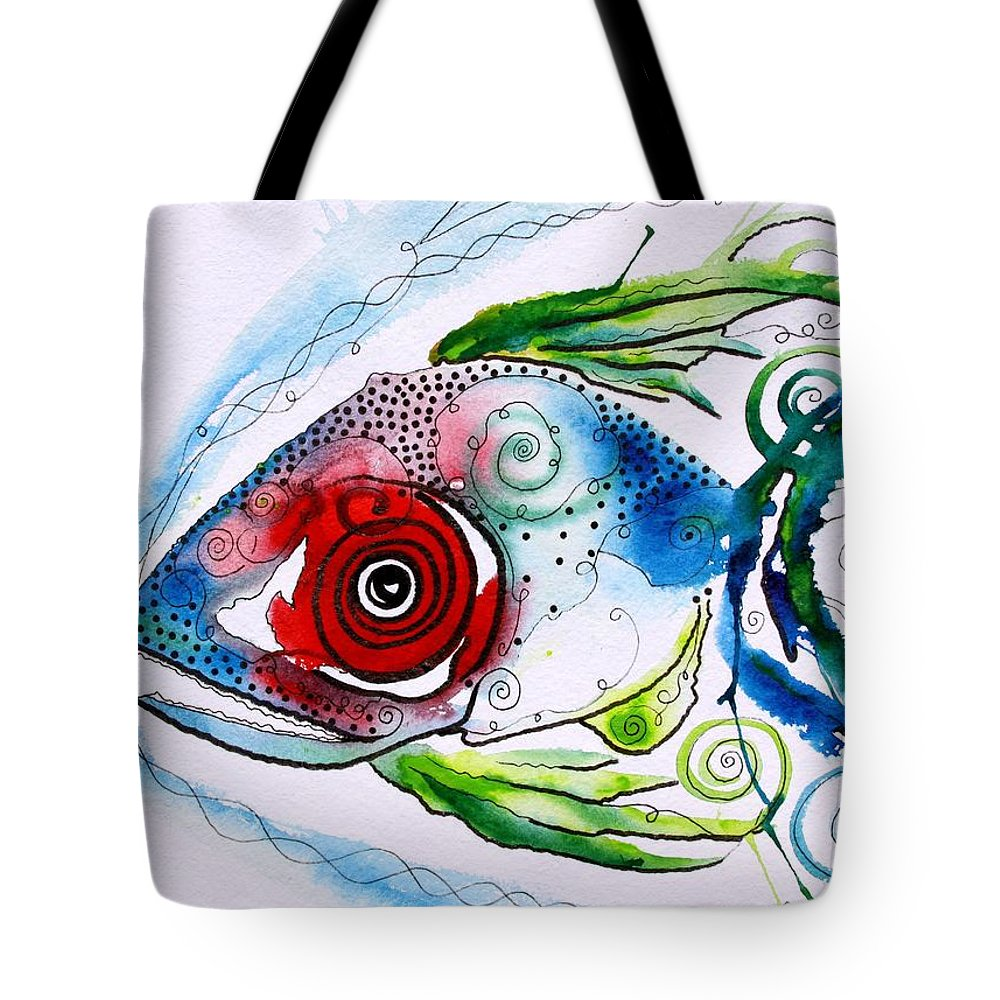 Paintings Tote Bag featuring the painting Wtfish 001 by J Vincent Scarpace
