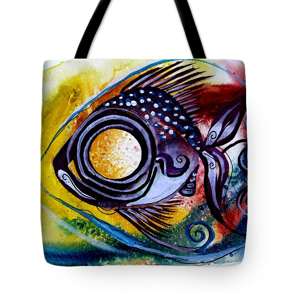 Fish Tote Bag featuring the painting Wtfish 3816 by J Vincent Scarpace