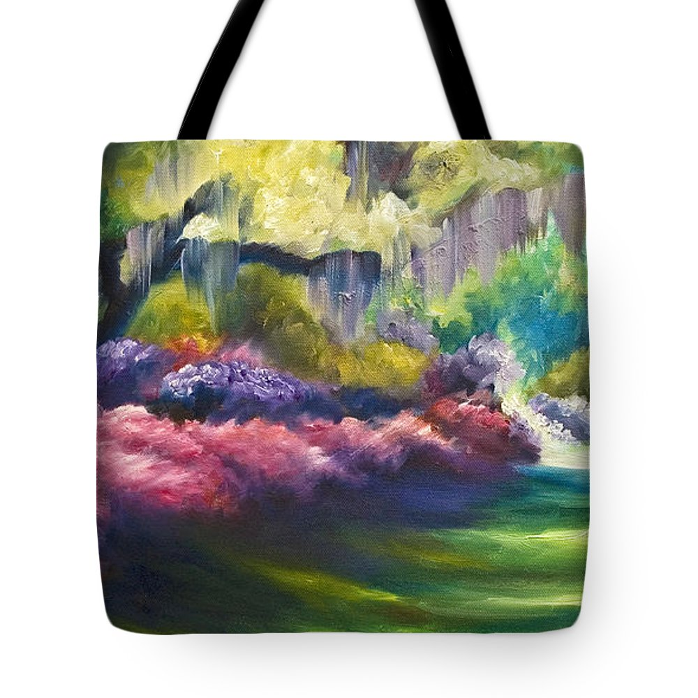 Nature; Lake; Sunset; Sunrise; Serene; Forest; Trees; Water; Ripples; Clearing; Lagoon; James Christopher Hill; Jameshillgallery.com; Foliage; Sky; Realism; Oils; Flowers; Red; Blue; Green; Purple; Wisteria; Oaks; Tree; Azaleas; Path Tote Bag featuring the painting Wysteria Lane by James Christopher Hill