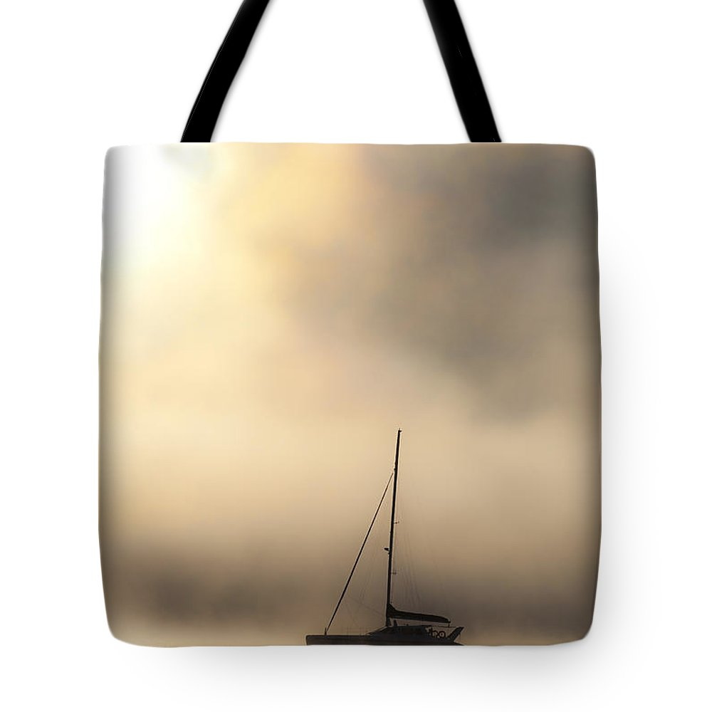 Mist Tote Bag featuring the photograph Yacht In Mist by Sheila Smart Fine Art Photography