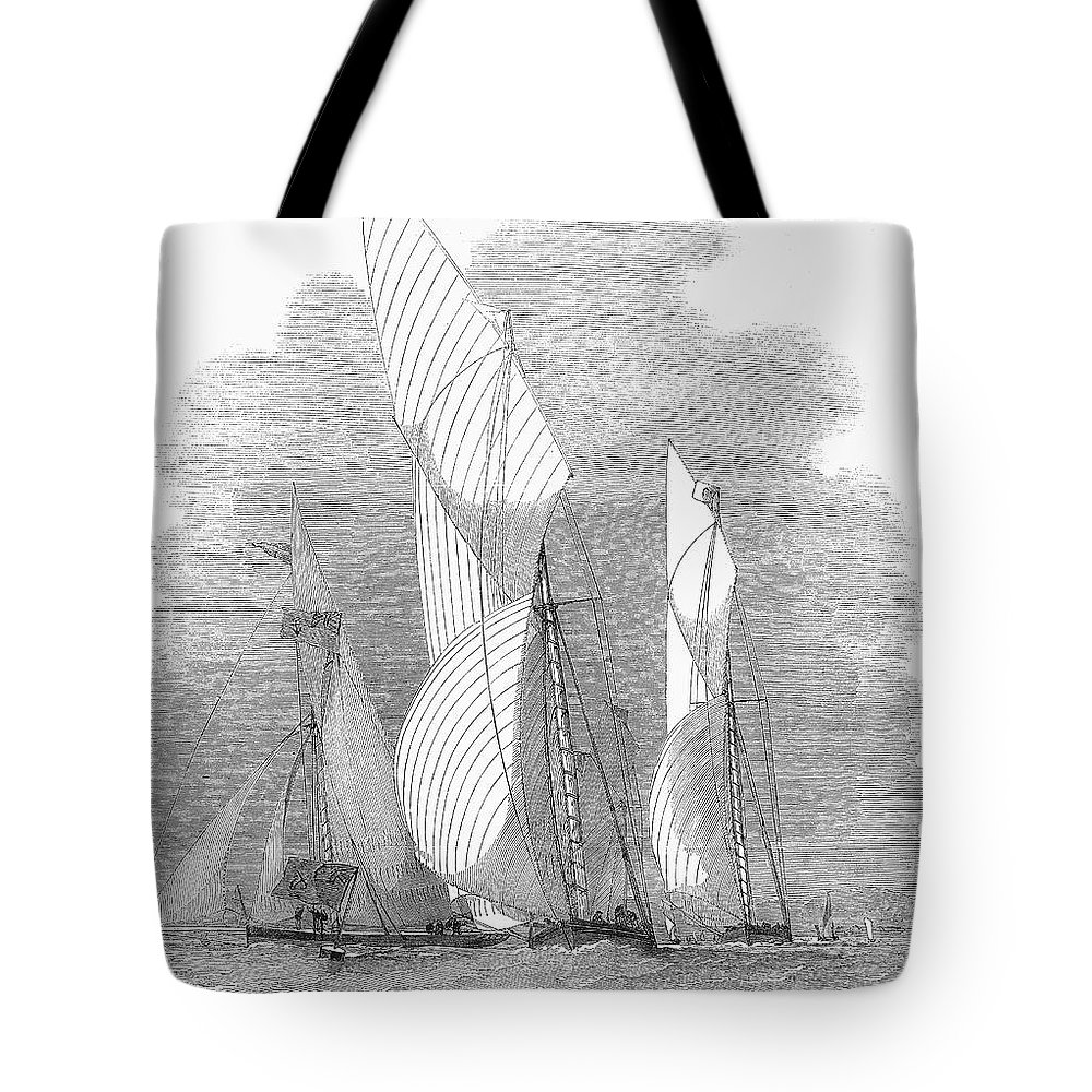 1855 Tote Bag featuring the photograph Yacht Race, 1855 by Granger