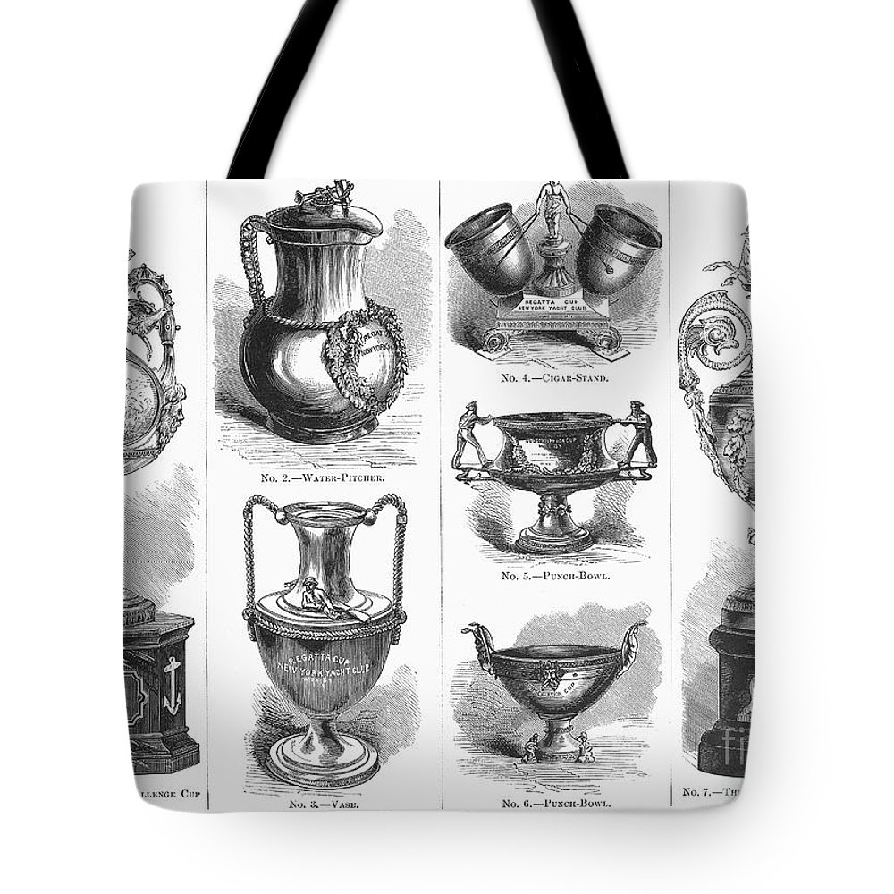 1871 Tote Bag featuring the photograph Yachting Trophies, 1871 by Granger