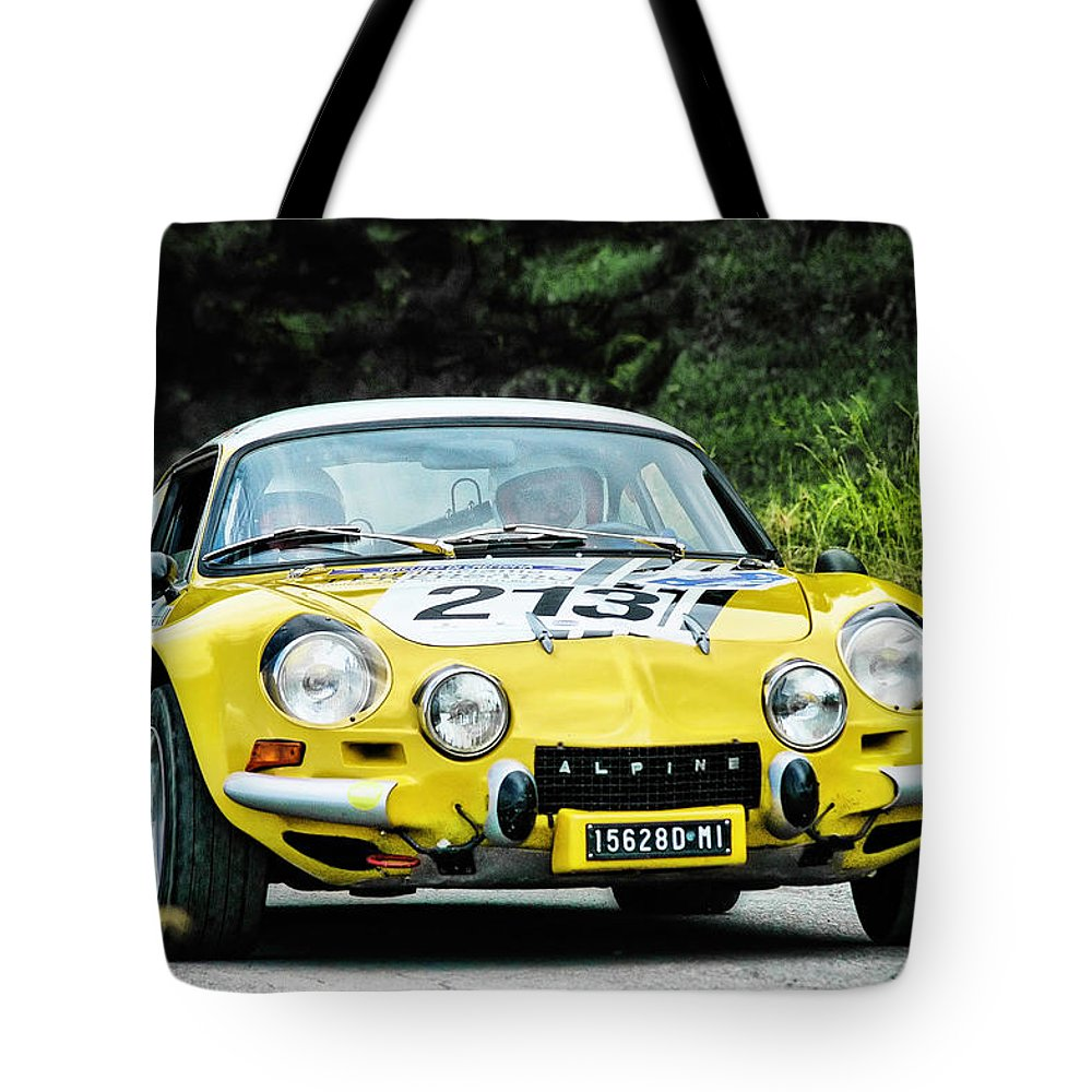 Car Tote Bag featuring the photograph Yellow Alpine Renault by Alain De Maximy