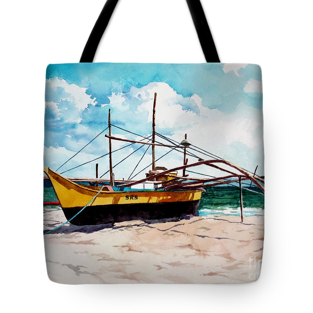 Boat Tote Bag featuring the painting Yellow Boat Docking On The Shore by Christopher Shellhammer
