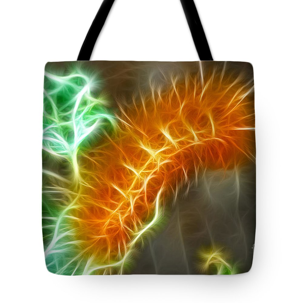 Fine Art Photography Tote Bag featuring the photograph Yellow Caterpillar Fractal by Donna Greene