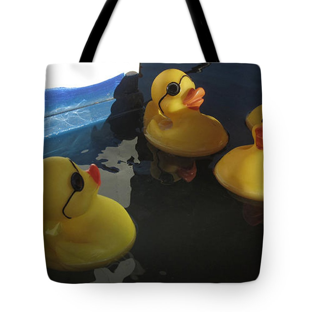 Ducks Tote Bag featuring the photograph Yellow Rubber Duckies by Donna Brown