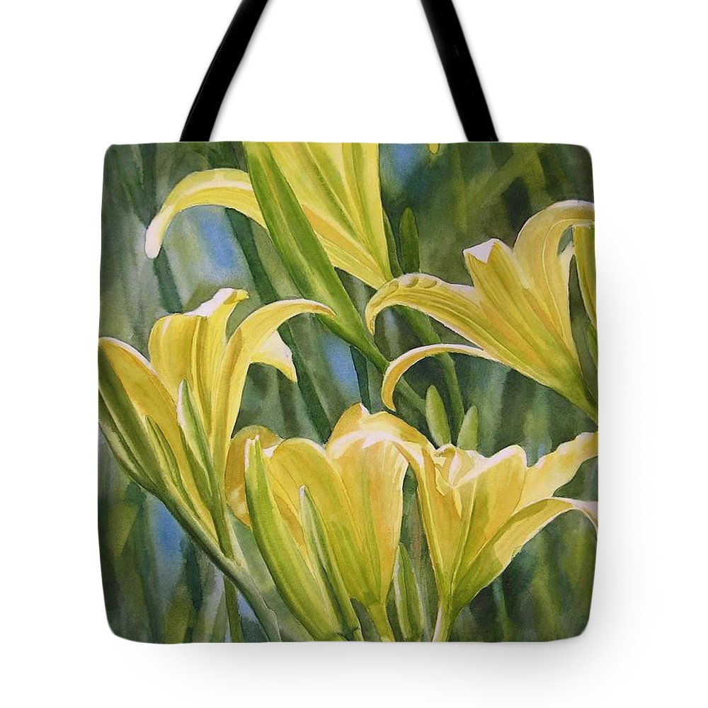 Yellow Tote Bag featuring the painting Yellow Lilies by Sharon Freeman