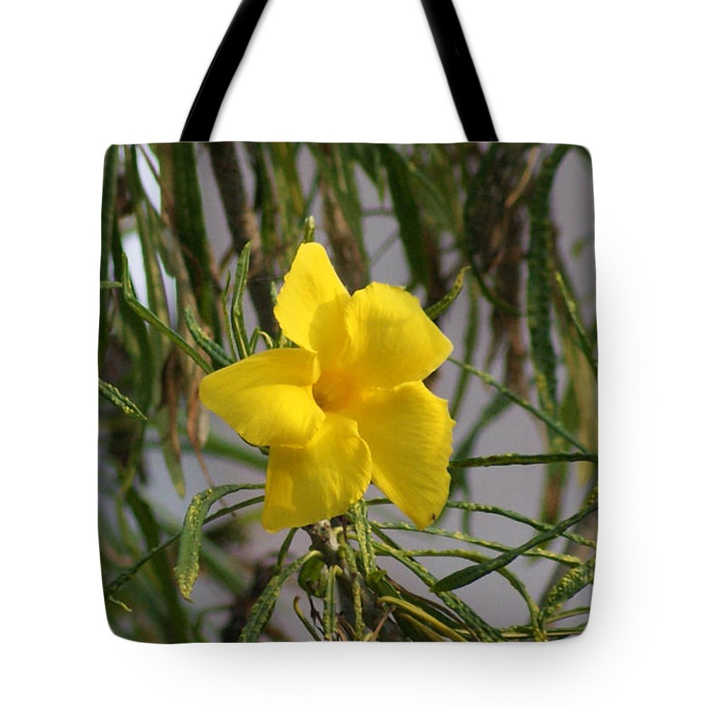 Yellow Tote Bag featuring the digital art Yellow Orchid by John Kolenberg