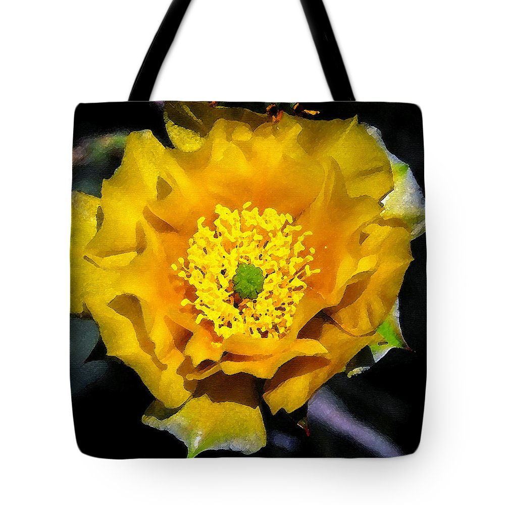 Porcupine Prickly Pear Cactus Tote Bag featuring the painting Yellow Porcupine by David Lee Thompson