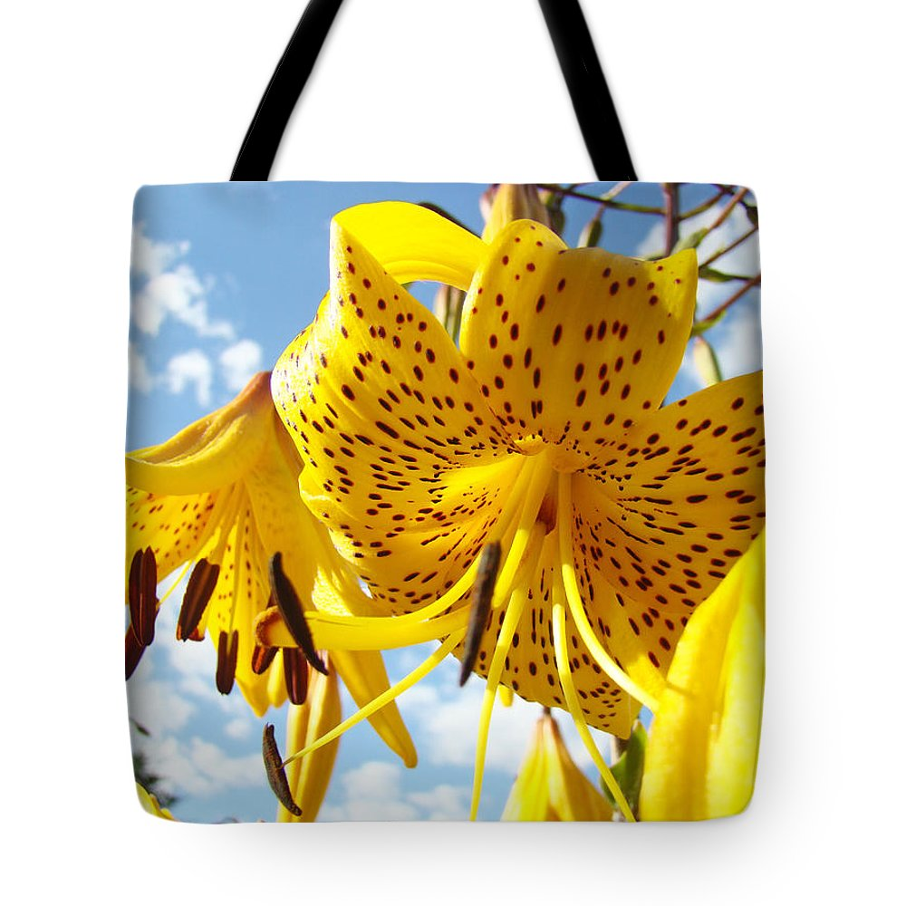 Yellow tiger lily flowers art prints lilies tote bag for sale by lily tote bag featuring the photograph yellow tiger lily flowers art prints lilies by baslee troutman izmirmasajfo