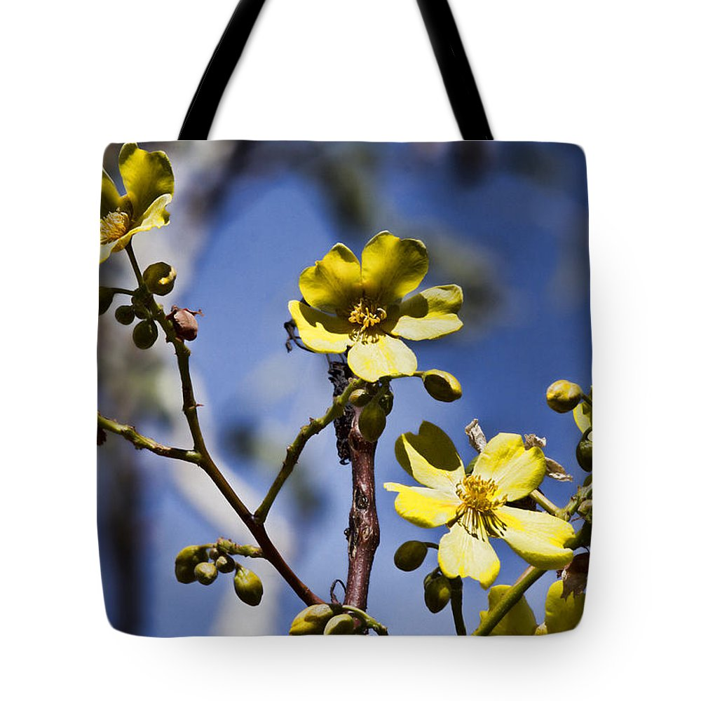 Yellow Tote Bag featuring the photograph Yellow Wildflowers by Douglas Barnard