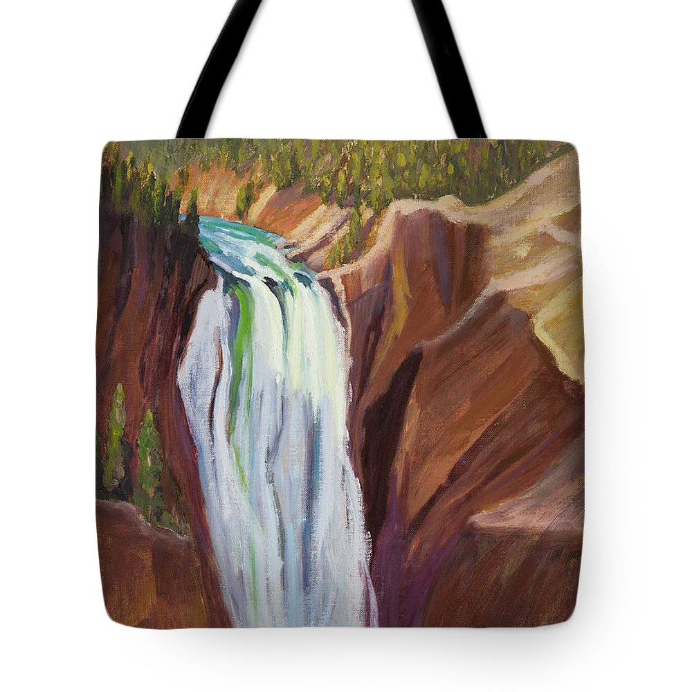 Yellowstone Falls Tote Bag featuring the painting Yellowstone Falls by Suzanne Elliott