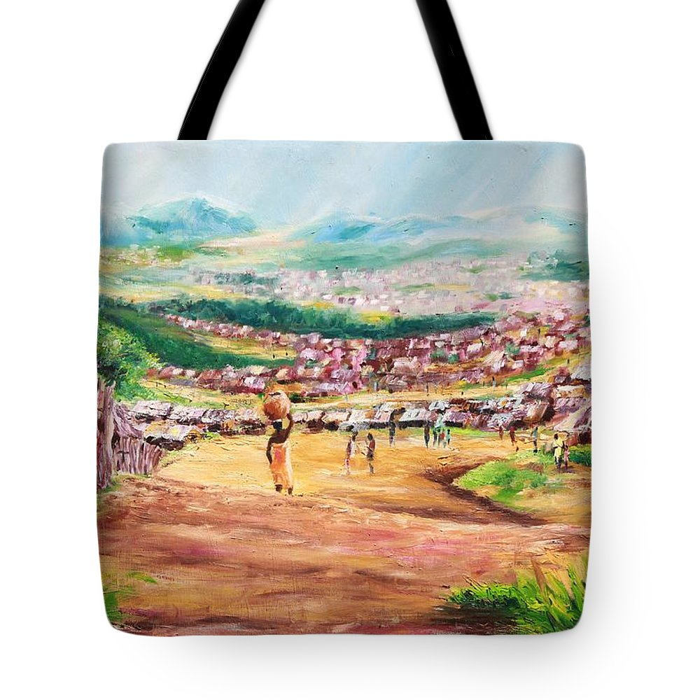 Village Scene Tote Bag featuring the painting Yesteryears by Uly Ogwah