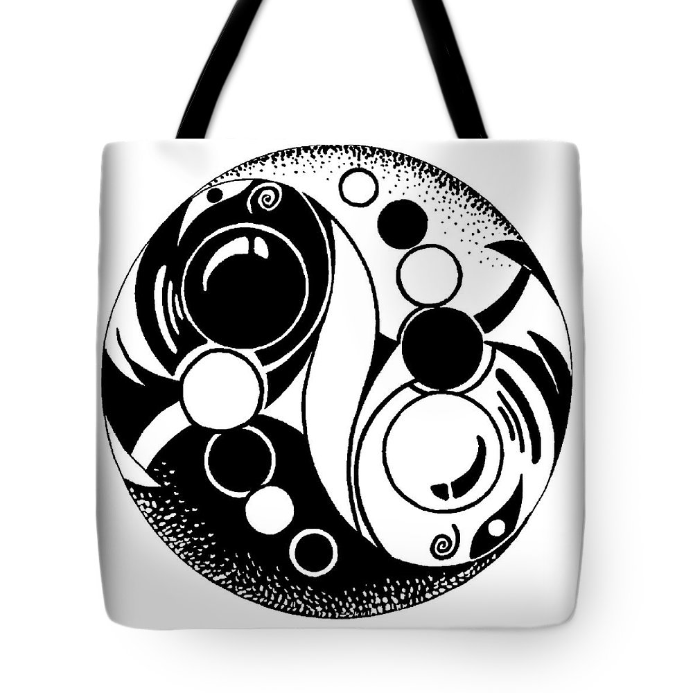 Fish Tote Bag featuring the painting Yin And Yang Fish Design by J Vincent Scarpace