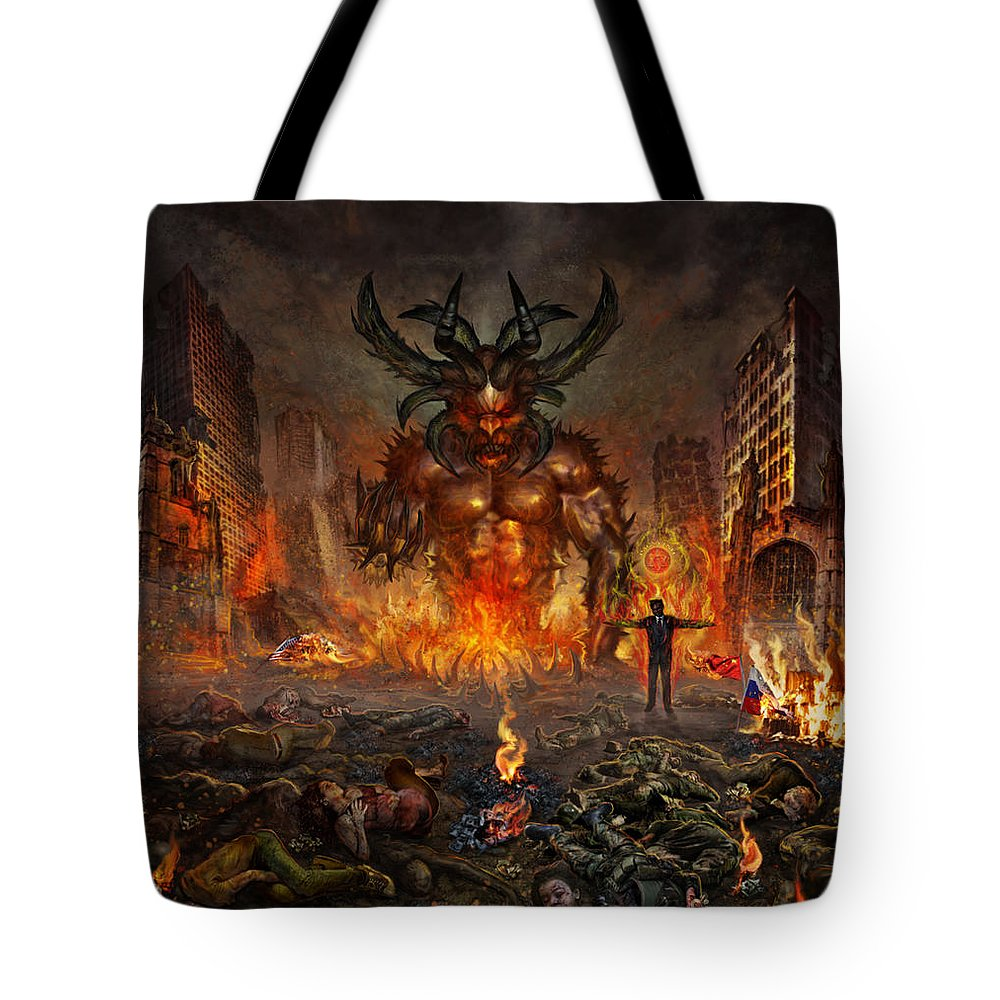 Carnivove Diprosopus Tote Bag featuring the mixed media You Allow Them To Rule Our World by Tony Koehl