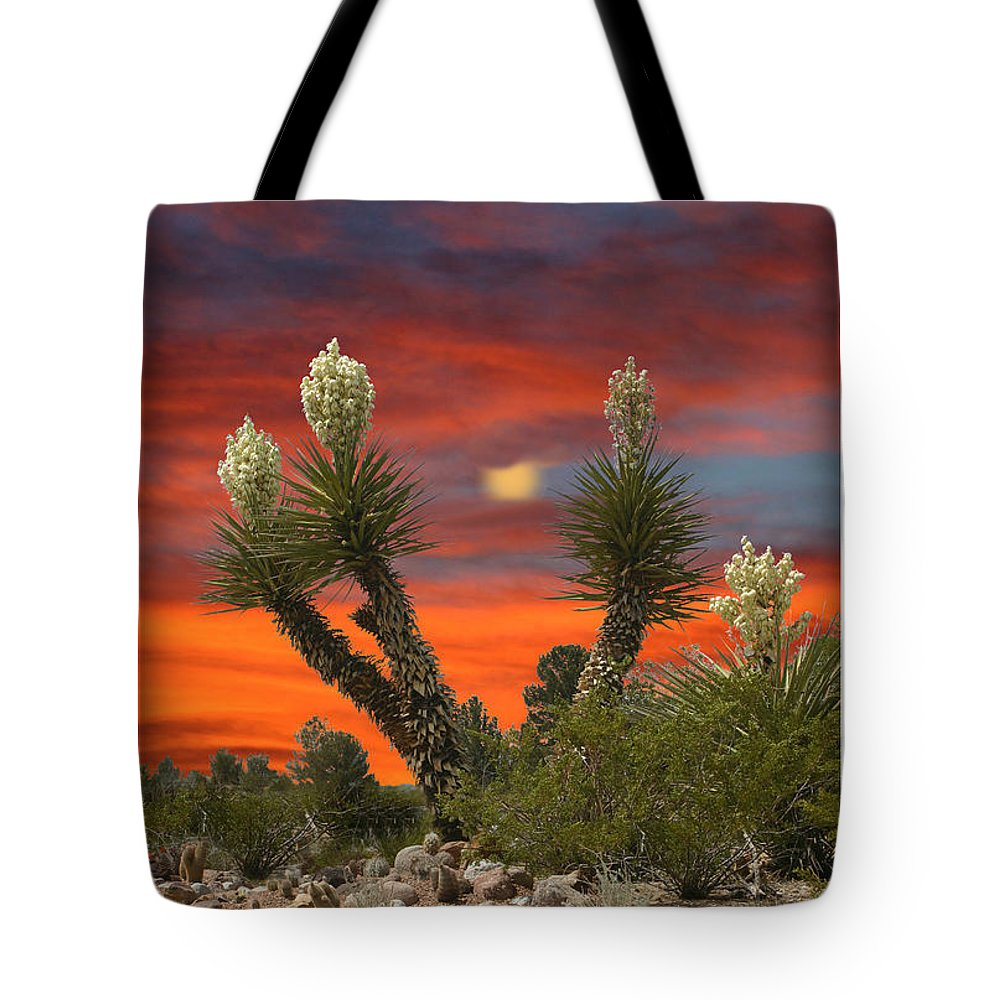 Yucca In Bloom Tote Bag featuring the photograph Yucca Blooming Sunset-moonset by Jack Pumphrey
