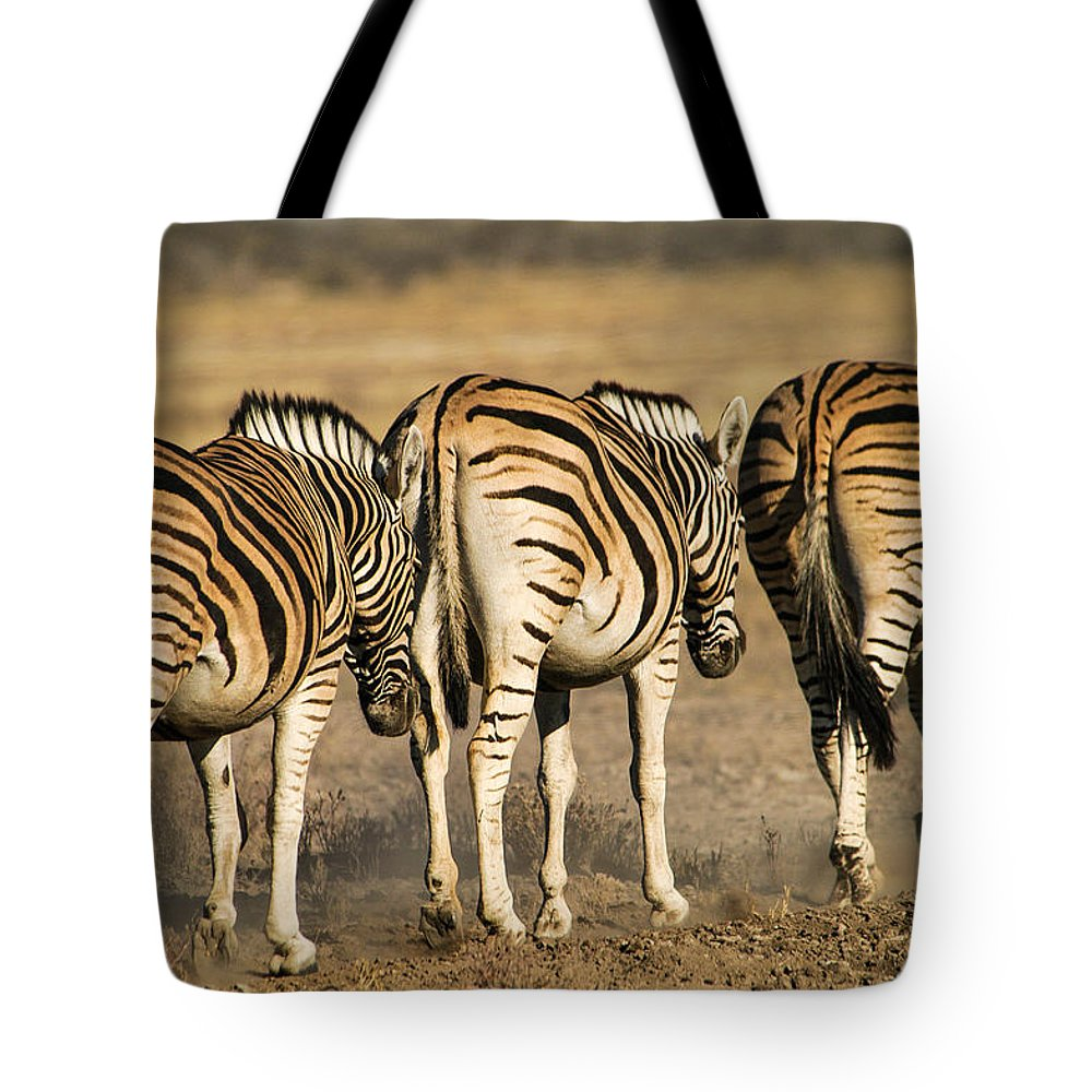 Action Tote Bag featuring the photograph Zebras Three by Alistair Lyne