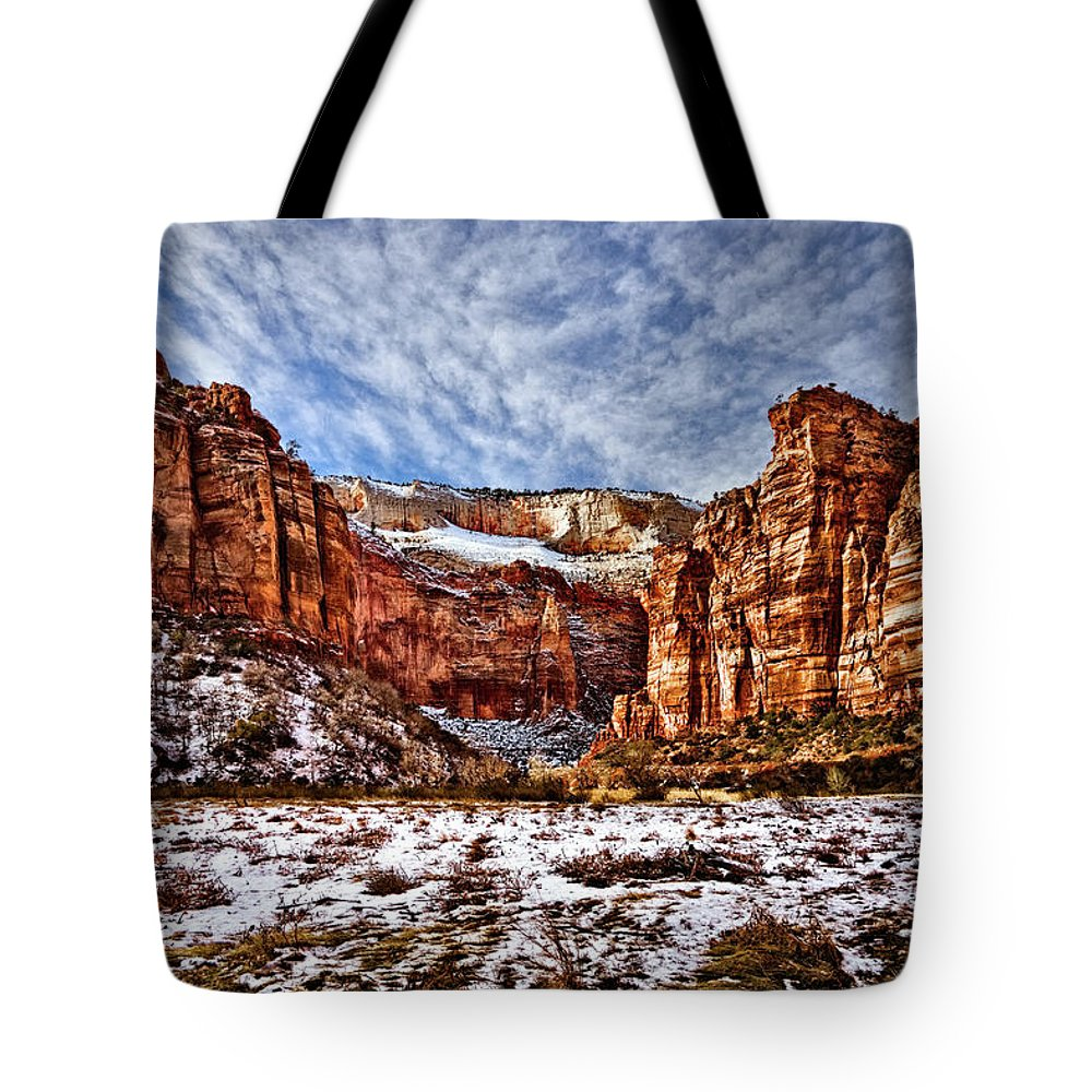 Mountain Tote Bag featuring the photograph Zion Canyon In Utah by Christopher Holmes