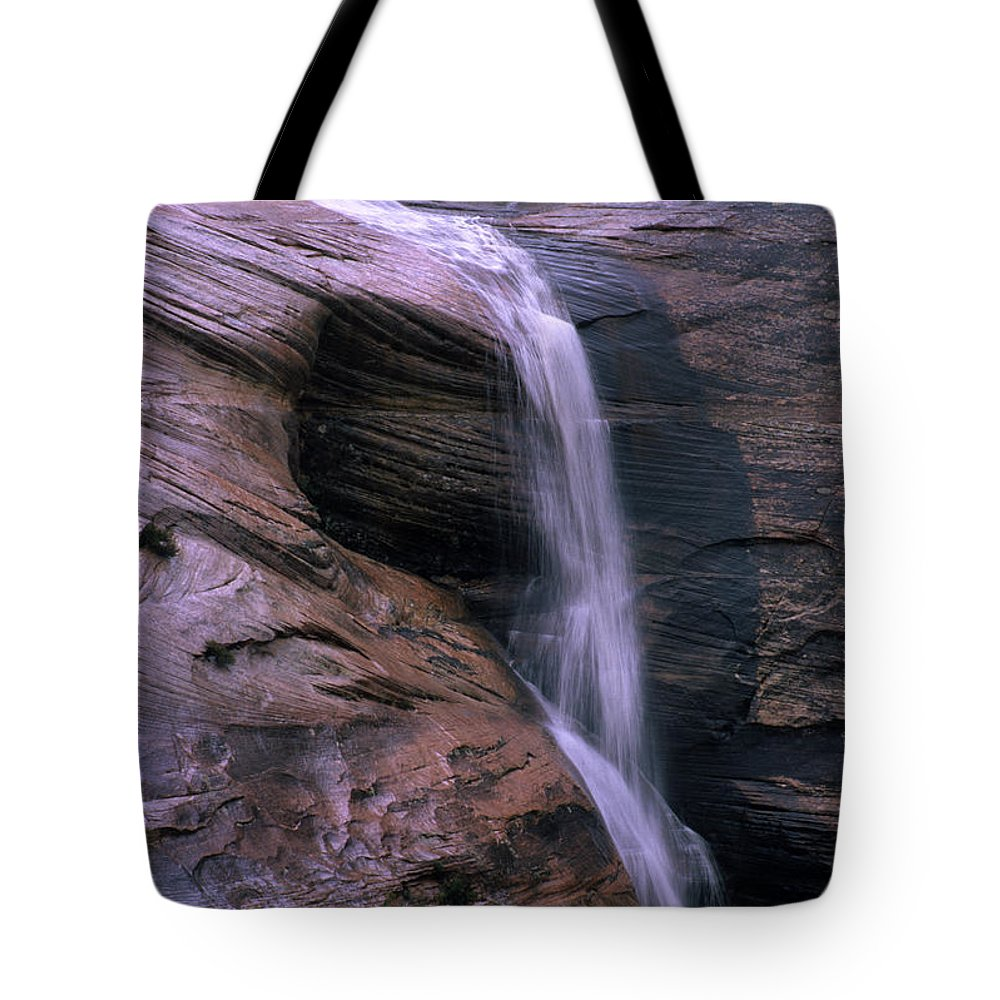 Southwest Tote Bag featuring the photograph Zion Summer Waterfall by Sandra Bronstein