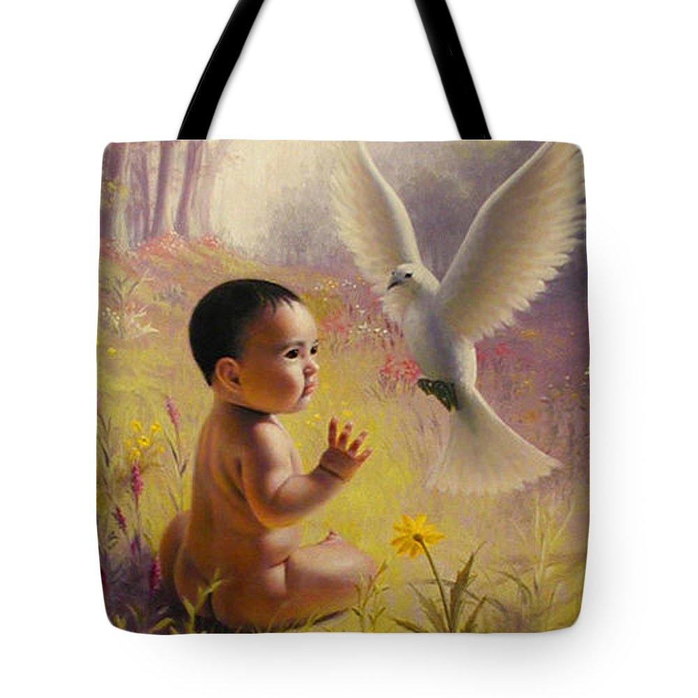Baby Tote Bag featuring the painting  Peace  Weaver by Stephen Lucas