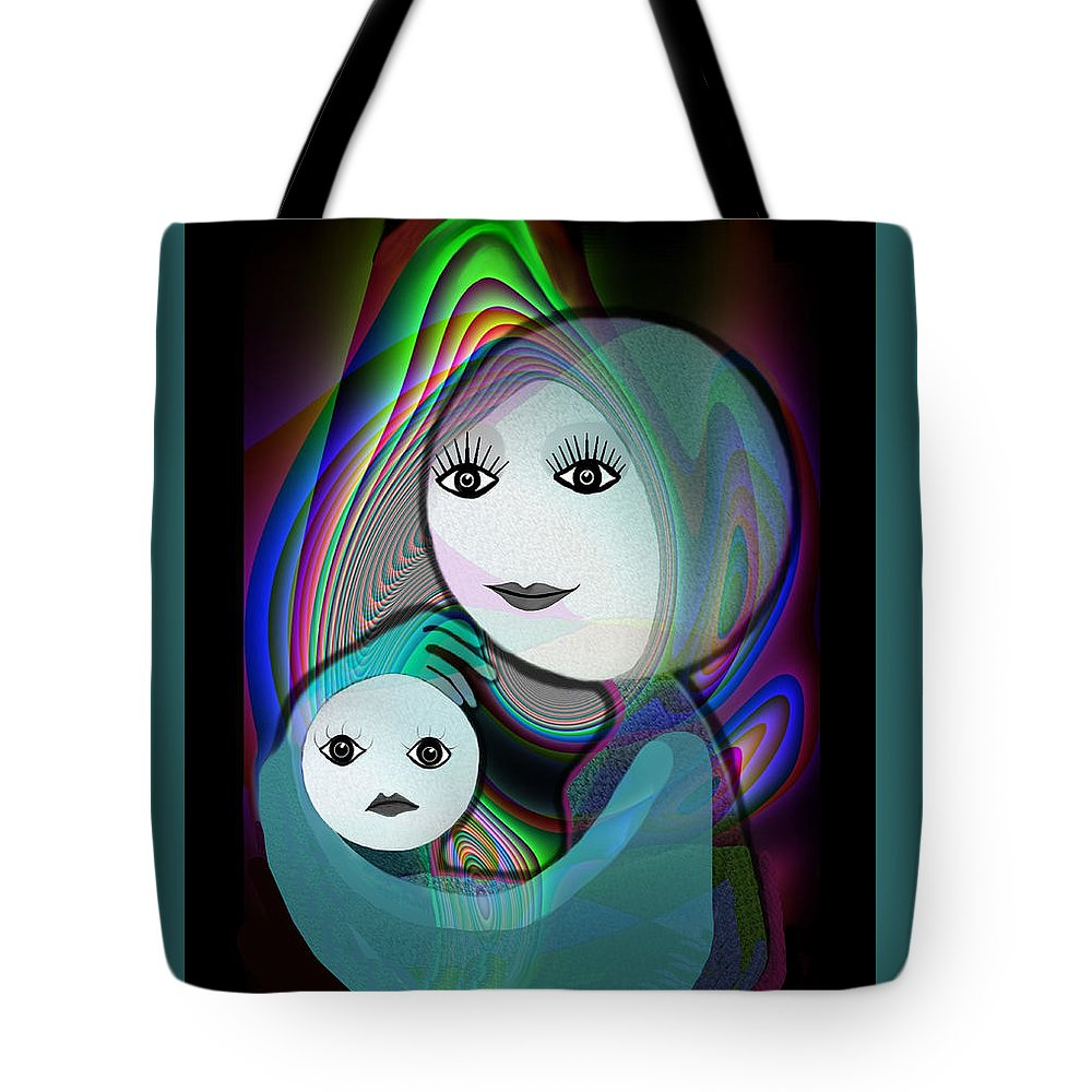 Mother And Child Tote Bag featuring the painting 044 - Full Moon Mother And Child  by Irmgard Schoendorf Welch