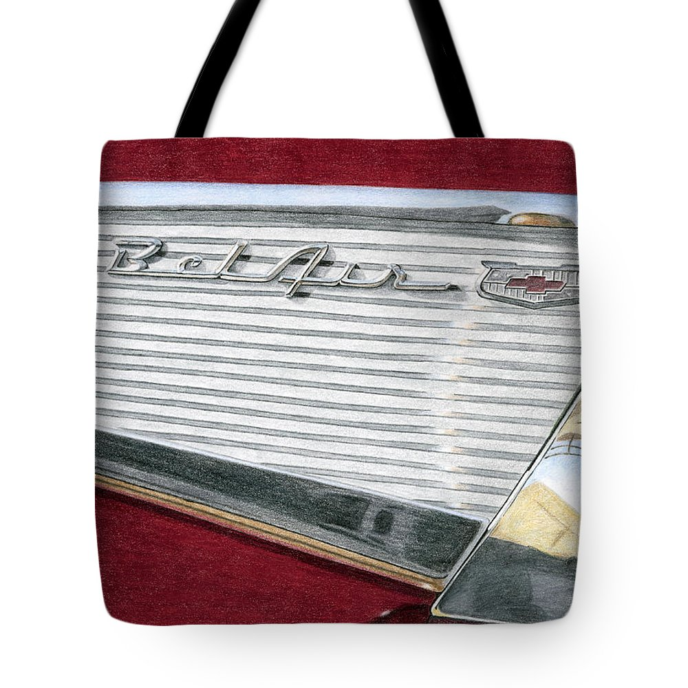 Classic Tote Bag featuring the drawing 1957 Chevrolet Bel Air Convertible by Rob De Vries