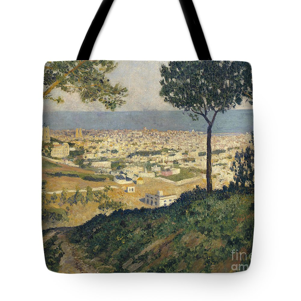 Dar�o De Regoyos Tote Bag featuring the painting Barcelona Seen From Vallvidrera by Celestial Images