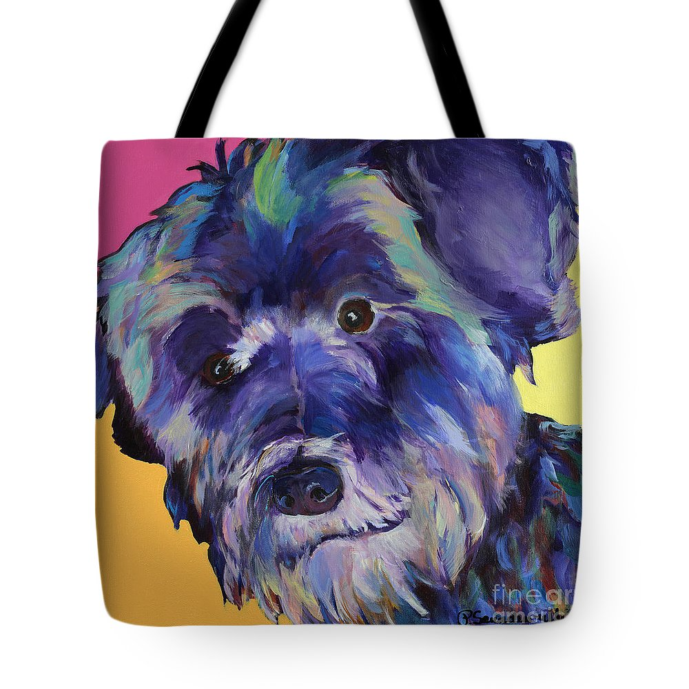 Schnauzer Acrylic Painting Tote Bag featuring the painting Beau by Pat Saunders-White