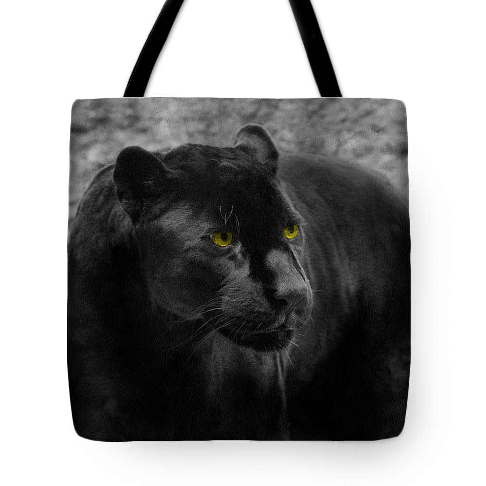 Black Tote Bag featuring the photograph Black Leopard by Sergey Lukashin