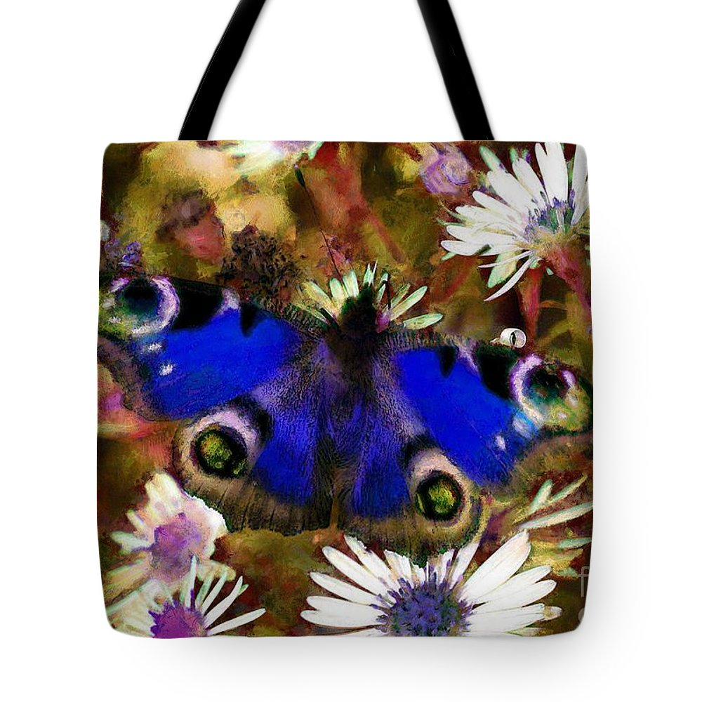 Blue Butterfly Tote Bag featuring the drawing Blue Butterfly by Sergey Lukashin