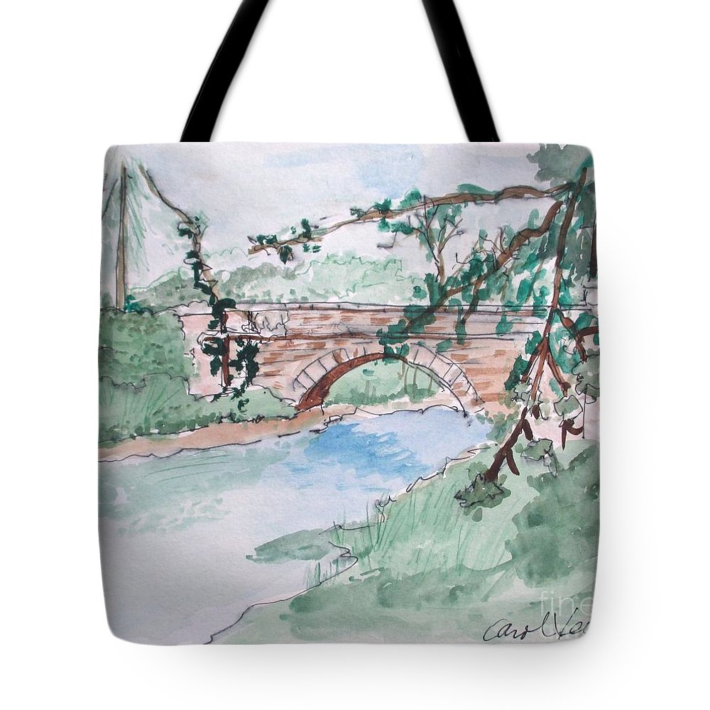 Bridge At Bellevue Gate Lodge Co. Wexford Tote Bag featuring the drawing Bridge At Bellevue Gate Lodge Co. Wexford by Carol Veiga