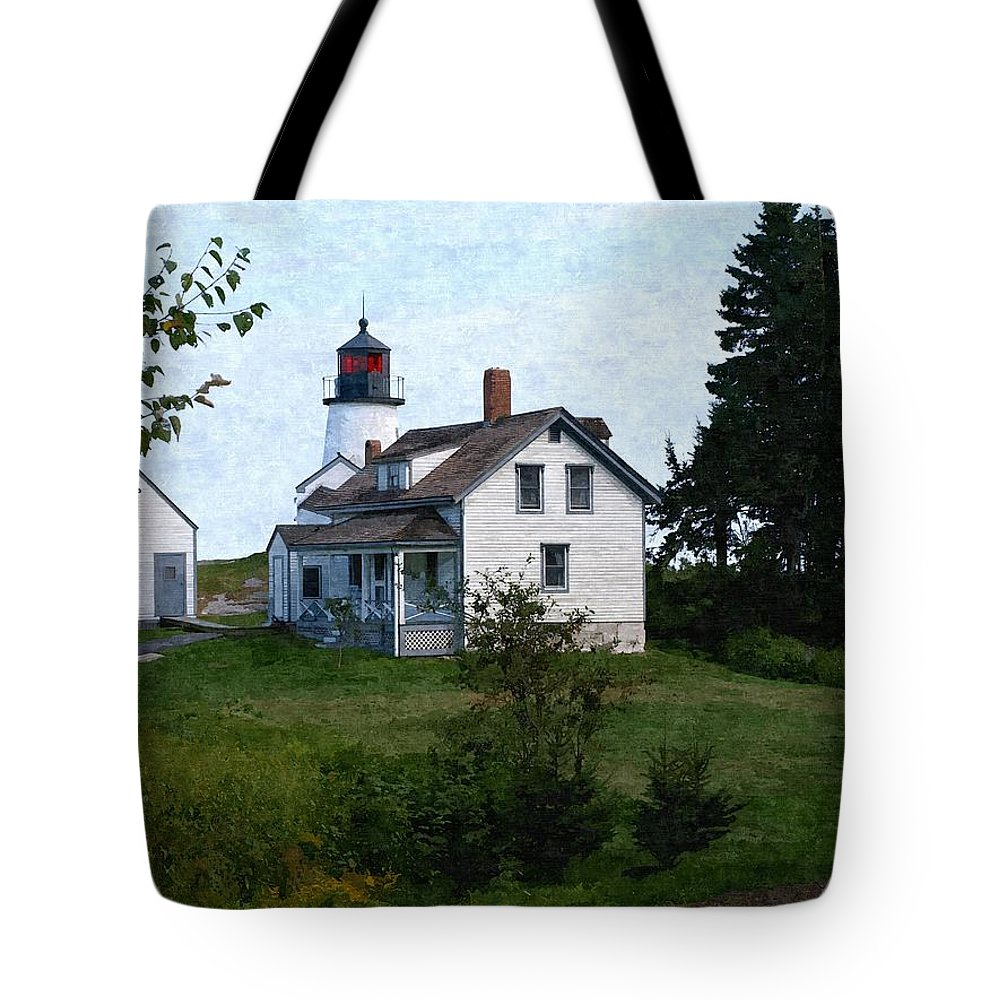 New England Lighthouse Tote Bag featuring the photograph Burnt Island Maine by Nancie DeMellia