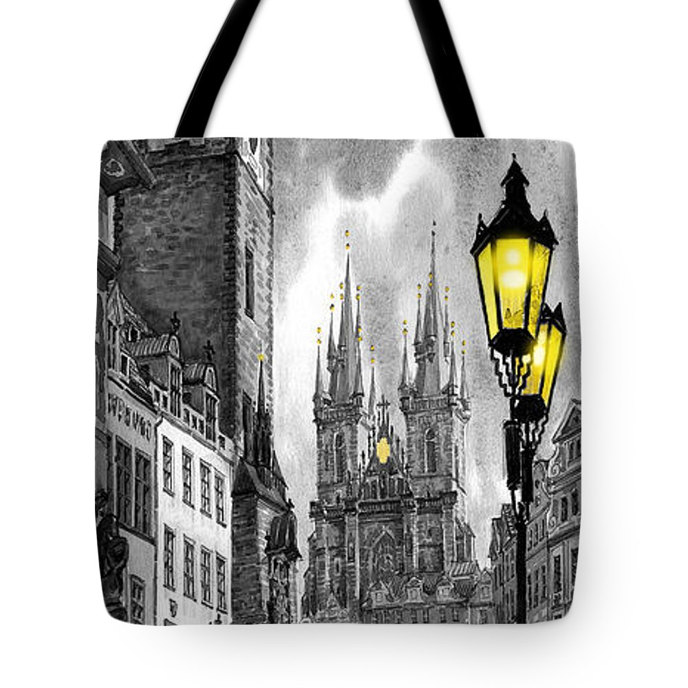 Geelee.watercolour Paper Tote Bag featuring the painting Bw Prague Old Town Squere by Yuriy Shevchuk