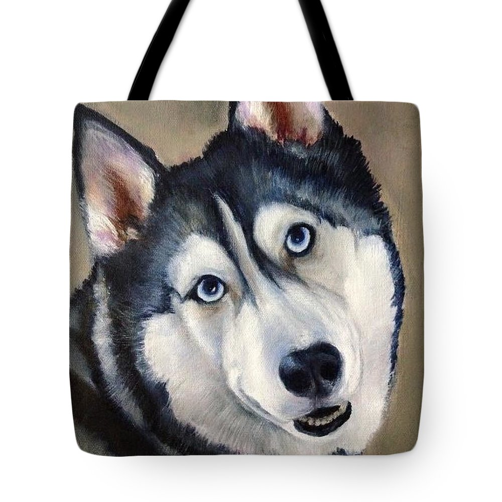 Husky Tote Bag featuring the painting Husky by FayBecca