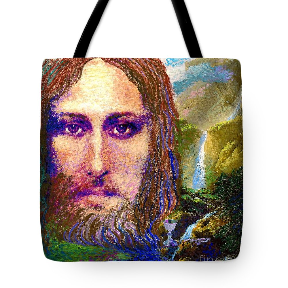 Love Tote Bag featuring the painting Contemporary Jesus Painting, Chalice Of Life by Jane Small