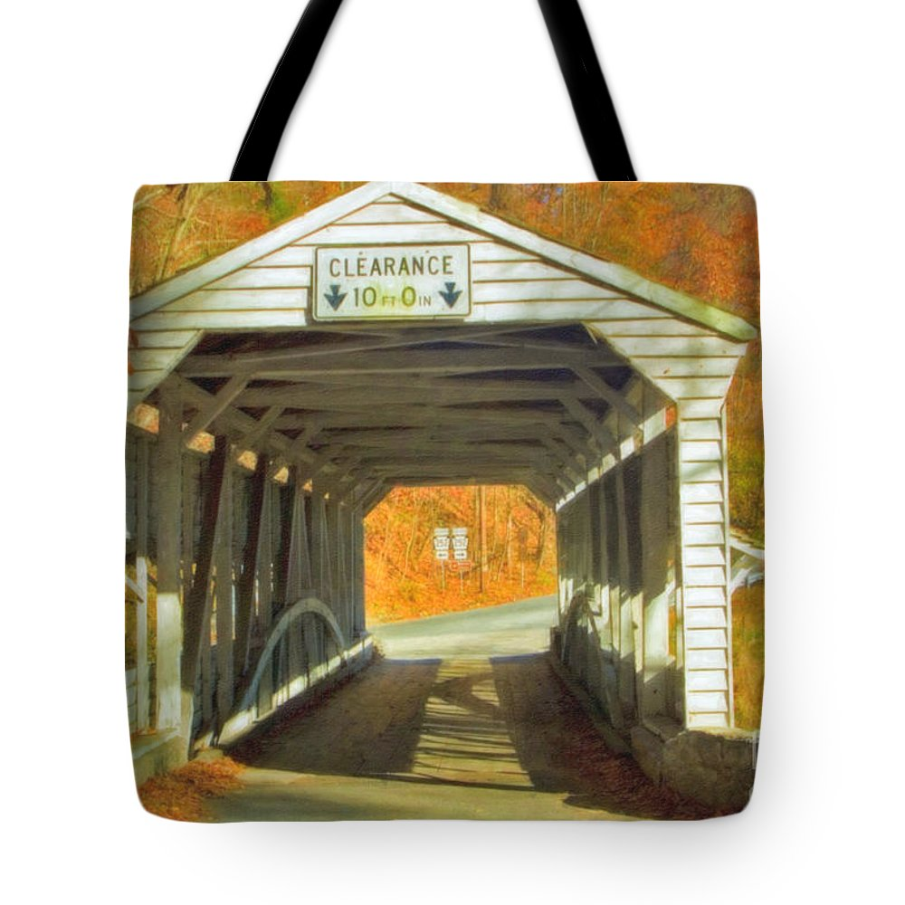 Covered Bridge Revolutionary Civil War Watercolor Photographs Tote Bag featuring the photograph Covered Bridge Watercolor by David Zanzinger