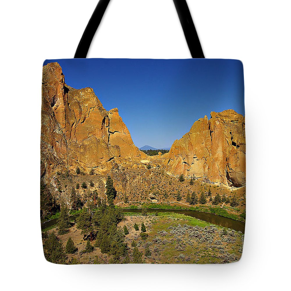 Oregon Tote Bag featuring the photograph Crooked River At Smith Rock State Park Oregon by Rich Walter