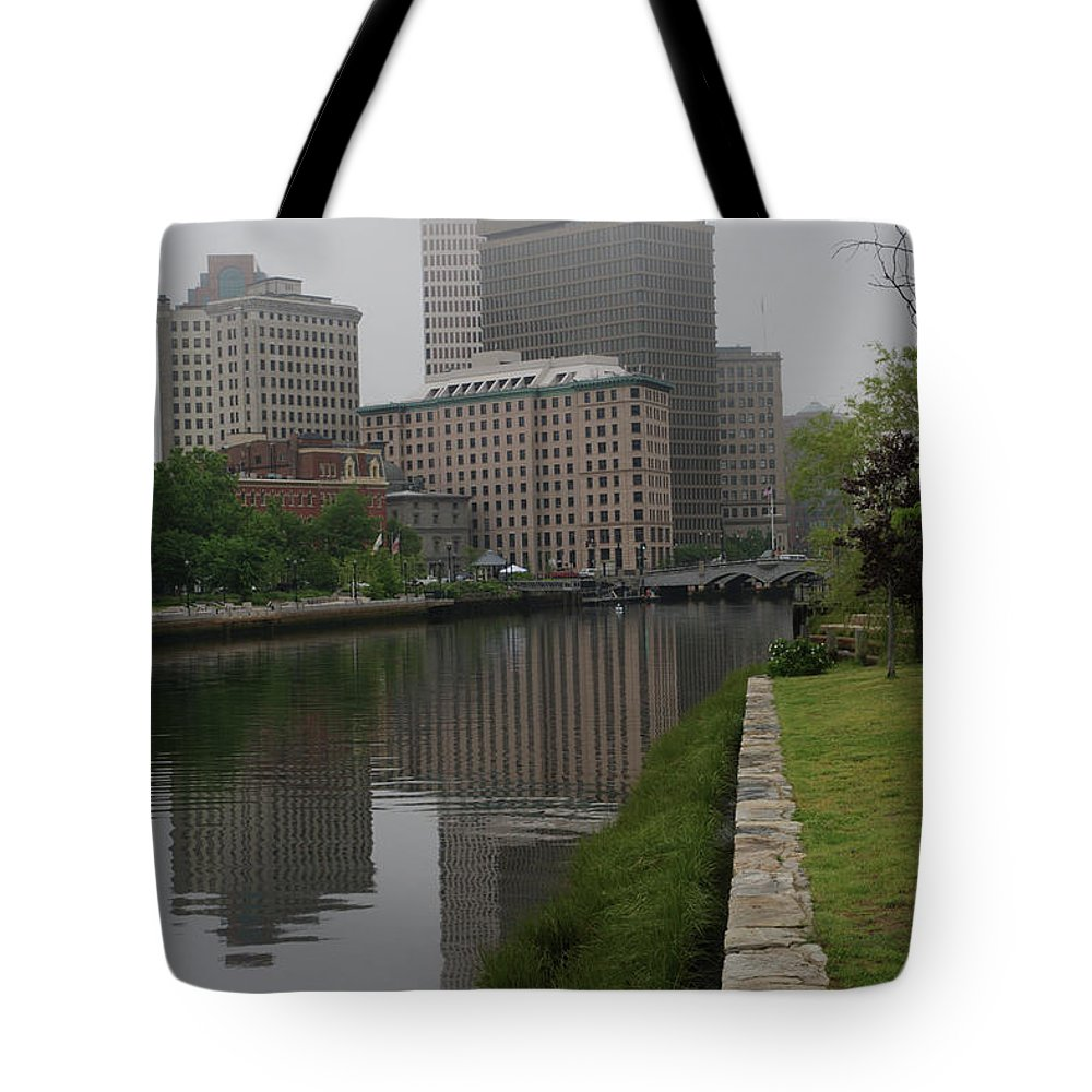 Fog Tote Bag featuring the photograph Foggy Morning In Providence by Barry Doherty