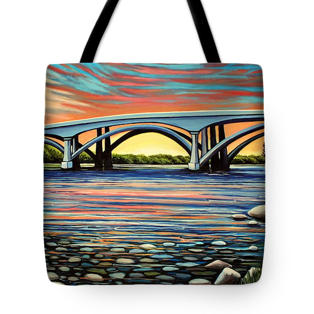 Folsom Bridge Tote Bag featuring the painting Folsom Bridge by Elizabeth Robinette Tyndall