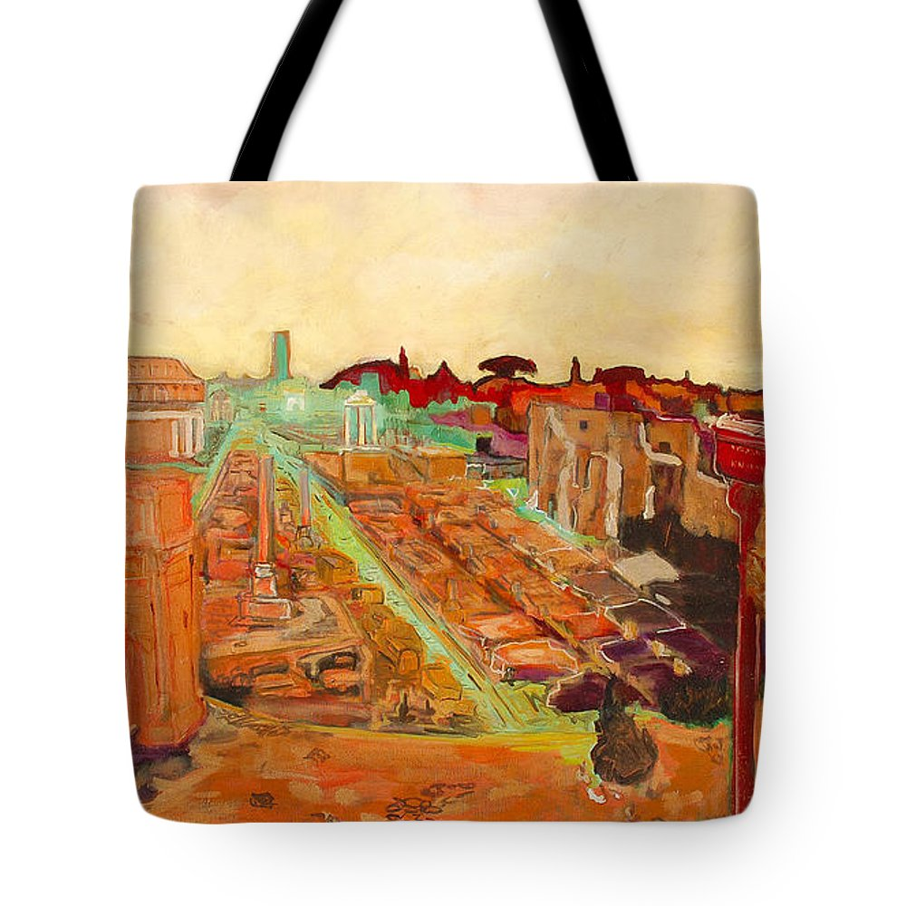 Rome Tote Bag featuring the painting Foro Romano by Kurt Hausmann