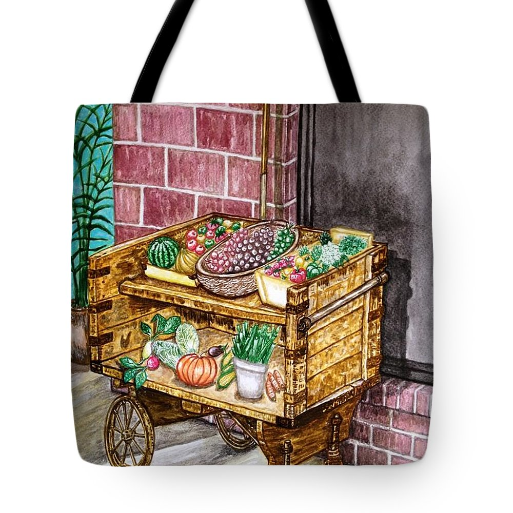Travel Tote Bag featuring the painting Fruit And Vegetable Stand In Nice, France by Jo lan Tao
