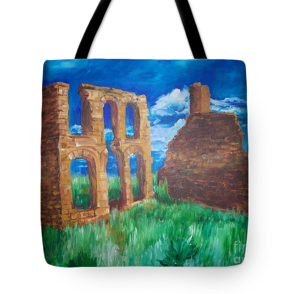 Western_landscapes Tote Bag featuring the painting Ghost Town by Eric Schiabor