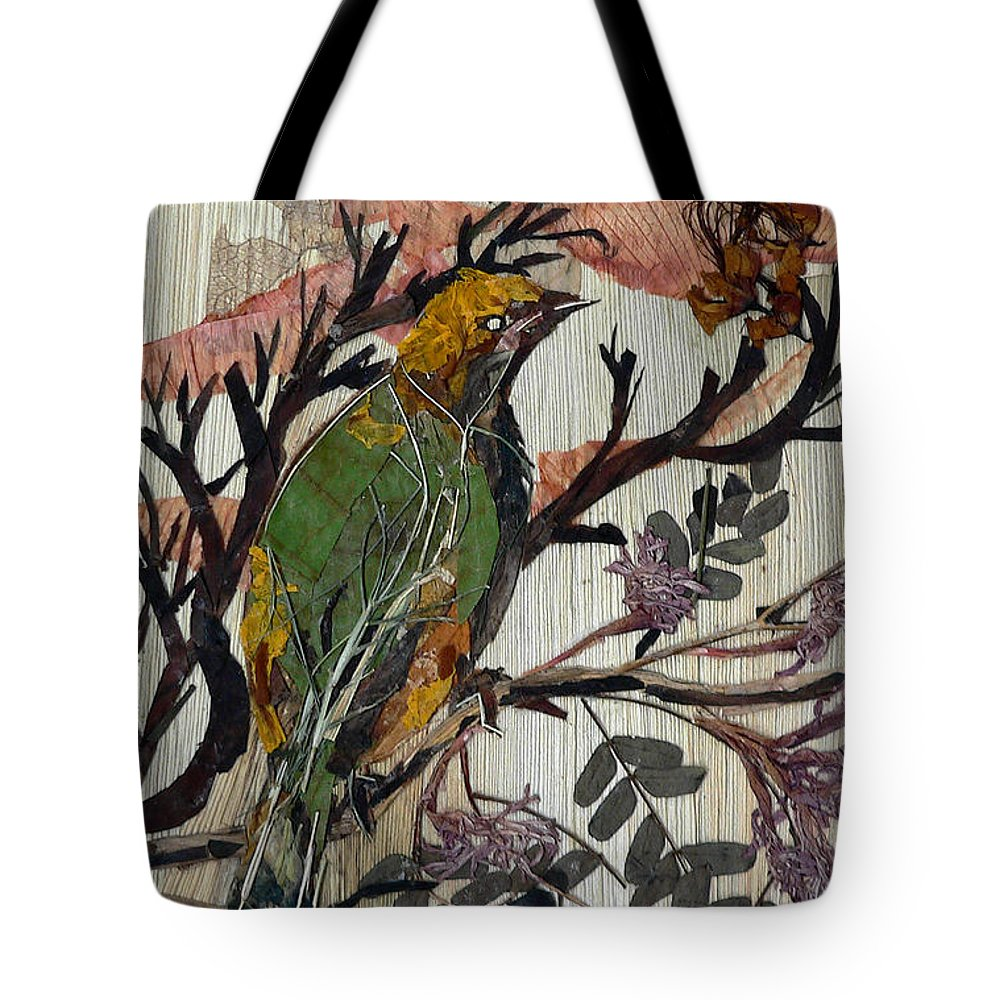 Green Bird Tote Bag featuring the mixed media Green-yellow Bird by Basant Soni