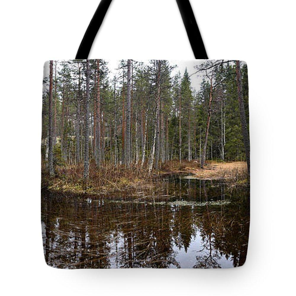 Lehtokukka Tote Bag featuring the photograph Haukkajoki Panorama 1 by Jouko Lehto