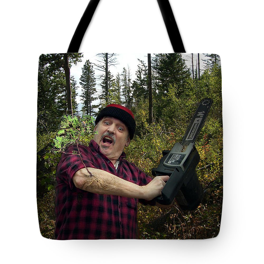 Surrealism Fantastic+realism Cloning Parasites Lumberjack Chainsaw Selfportrait Tote Bag featuring the digital art I Am A Lumberjack I Am Ok by Otto Rapp