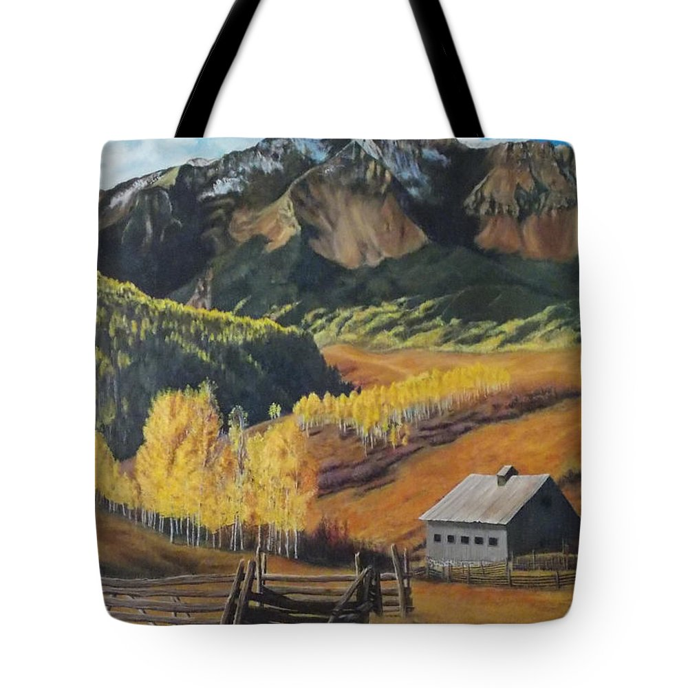 Colorado Rockies Tote Bag featuring the painting I Will Lift Up My Eyes To The Hills Autumn Nostalgia Wilson Peak Colorado by Anastasia Savage Ealy