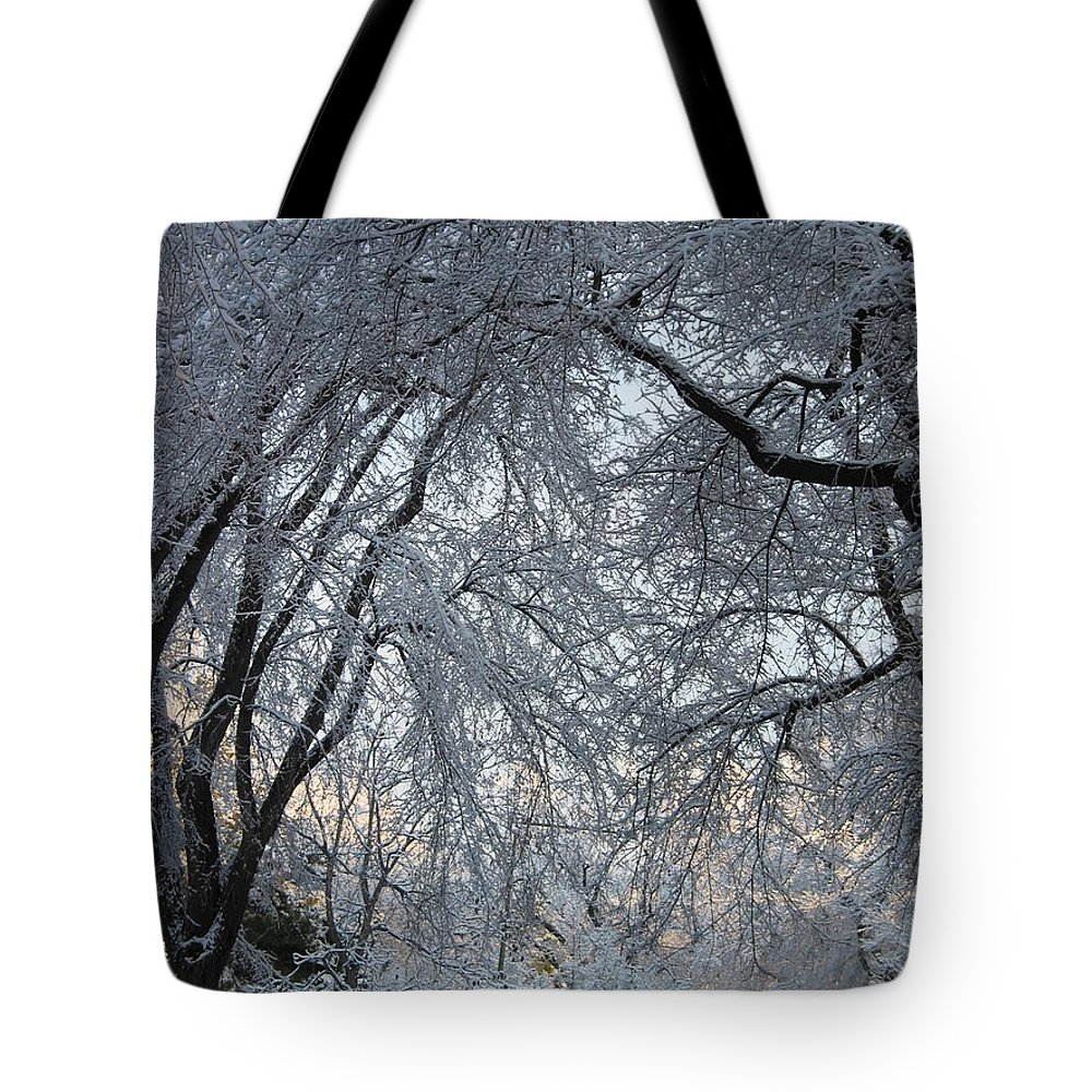Ice Storm Tote Bag featuring the photograph Ice Storm On The 6th II by Jacqueline Russell